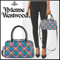 Vivienne Westwood Tartan Casual Style Unisex 2WAY PVC Clothing Handbags