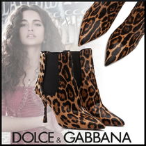 Dolce & Gabbana Leopard Patterns Leather Pin Heels Elegant Style