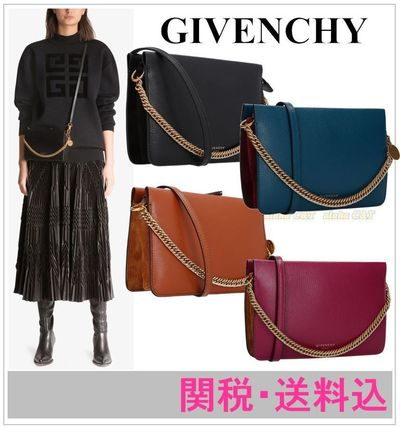 Blended Fabrics 3WAY Chain Plain Leather Shoulder Bags