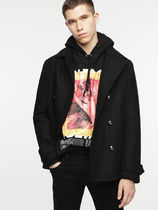 DIESEL Short Wool Street Style Plain Peacoats Coats