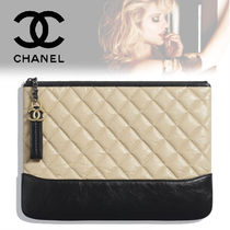 CHANEL Calfskin Bag in Bag Bi-color Plain Elegant Style Clutches