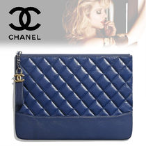 CHANEL Calfskin Bag in Bag Plain Elegant Style Clutches