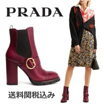PRADA Platform Round Toe Blended Fabrics Plain Leather