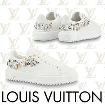 Louis Vuitton Round Toe Rubber Sole Casual Style Plain Leather With Jewels