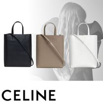 CELINE Cabas Calfskin 2WAY Plain Handbags