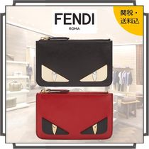 FENDI BAG BUGS Unisex Studded Bi-color Plain Leather Keychains & Holders