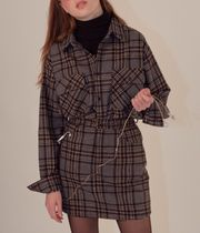 SCULPTOR Tartan Casual Style Wool Long Sleeves Shirts & Blouses
