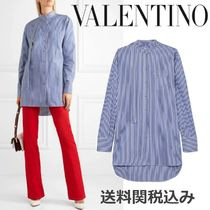 VALENTINO Stripes Long Sleeves Cotton Oversized Elegant Style