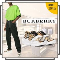 Burberry Other Check Patterns Unisex Street Style Plain Sneakers