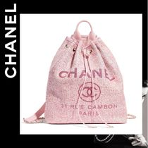 CHANEL DEAUVILLE Casual Style 2WAY Plain Purses Backpacks
