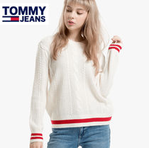 Tommy Hilfiger Crew Neck Cable Knit Casual Style Blended Fabrics Bi-color