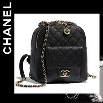 CHANEL ICON Calfskin Chain Plain Backpacks