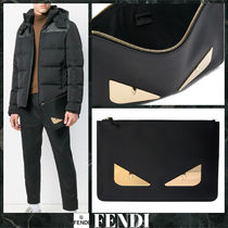 FENDI Unisex Street Style Leather Clutches