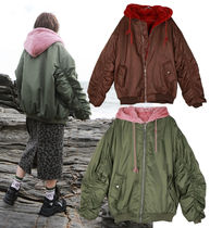 Wool Blended Fabrics Bi-color Plain Medium Oversized Parkas