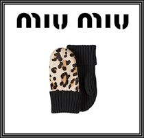 MiuMiu Leopard Patterns Leather Leather & Faux Leather Gloves