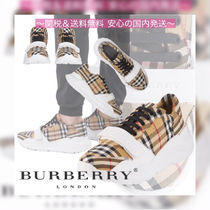 Burberry Other Check Patterns Unisex Street Style Leather Sneakers