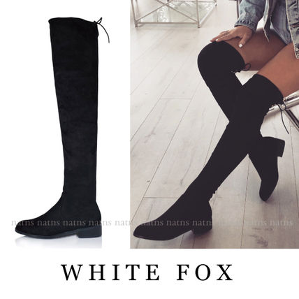 Round Toe Casual Style Suede Plain Block Heels Boots Boots