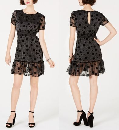 Dots Flared Medium Short Sleeves Party Style Dresses