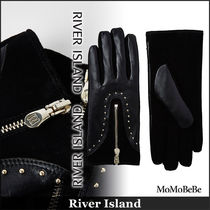 River Island Studded Plain Leather Leather & Faux Leather Gloves