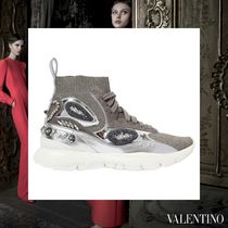 VALENTINO Rubber Sole Casual Style Studded Plain Leather With Jewels