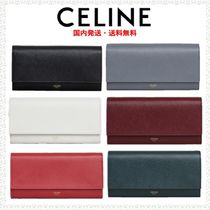 CELINE Flap Calfskin Plain Long Wallets