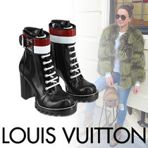 Louis Vuitton Stripes Round Toe Casual Style Blended Fabrics Street Style