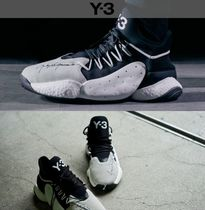 Y-3 Unisex Street Style Collaboration Plain Leather Sneakers