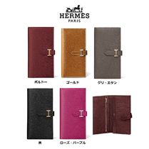 HERMES Plain Leather Folding Wallets