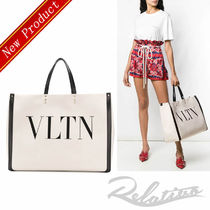VALENTINO Canvas Studded A4 Elegant Style Totes