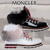MONCLER Stripes Plain Toe Mountain Boots Rubber Sole Fur