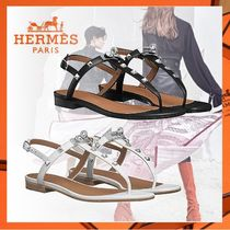 HERMES Open Toe Rubber Sole Studded Plain Leather With Jewels