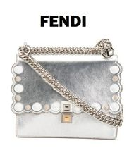 FENDI Dots Chain Leather Party Style Clutches