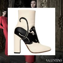 VALENTINO Other Animal Patterns Leather Block Heels Elegant Style