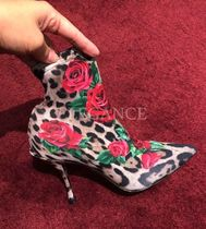 Dolce & Gabbana Flower Patterns Leopard Patterns Sheepskin Pin Heels