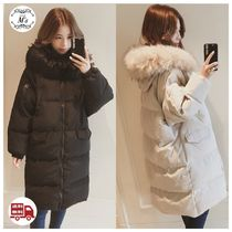 Street Style Plain Long Oversized Down Jackets