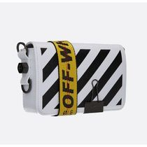 Off-White BINDER CLIP Casual Style Leather Crossbody Shoulder Bags