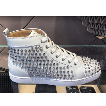 Studded Plain Leather Logo Sneakers