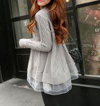 Crew Neck Cable Knit Casual Style Blended Fabrics Long