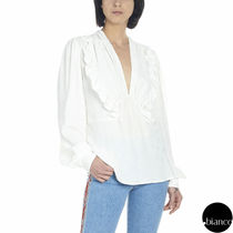 MSGM Dots Puffed Sleeves Elegant Style Shirts & Blouses