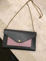 CELINE Flap Calfskin Chain Plain Long Wallets