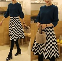 Flared Skirts Medium Elegant Style Midi Skirts
