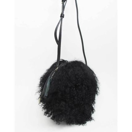 Other Check Patterns Fur Blended Fabrics Shoulder Bags