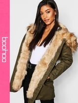 boohoo Casual Style Faux Fur Parkas