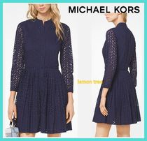 Michael Kors Flower Patterns Long Sleeves Cotton Medium Shirt Dresses
