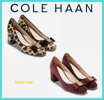 Cole Haan Leopard Patterns Round Toe Suede Elegant Style Chunky Heels