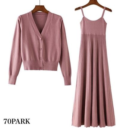 Casual Style Street Style Long Sleeves Plain Medium Dresses