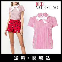 RED VALENTINO Stripes Casual Style Cotton Short Sleeves Shirts & Blouses