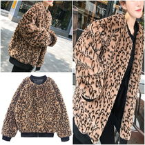 Short Leopard Patterns Street Style MA-1 Oversized