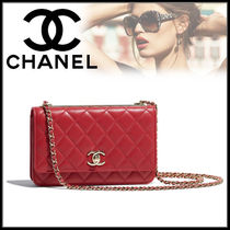 CHANEL Lambskin Chain Shoulder Bags