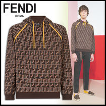 FENDI Pullovers Monogram Long Sleeves Cotton Sweatshirts